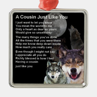 Cousin Poem - Wolf Design Metal Ornament