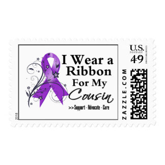 Cousin Purple Ribbon - Pancreatic Cancer Postage Stamps