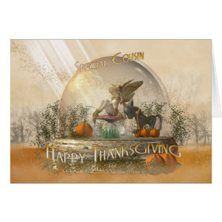 Cousin Thanksgiving Card With Fairy In A Globe Fal