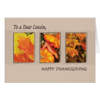 Cousin, Thanksgiving Three Leaves Card