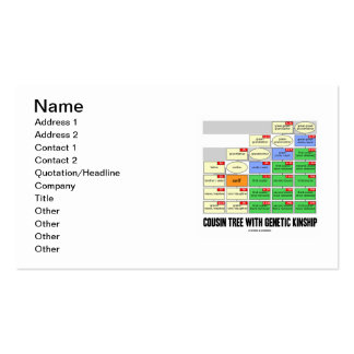 Cousin Tree With Genetic Kinship Business Card