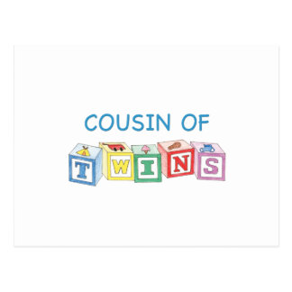 Cousin Twins Blocks Postcard