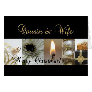 Cousin & Wife Merry Christmas  black gold christma Greeting Card