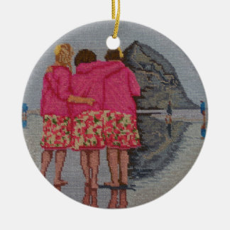 Cousins Needlepoint Ceramic Ornament