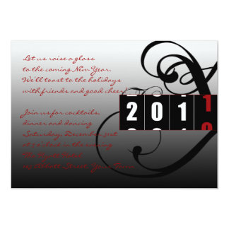 Coutdown 2010 to 2011 New Years Eve Party 5x7 Paper Invitation Card