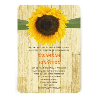 Coutry Chic Barn Wood Sunflower Wedding Invitation