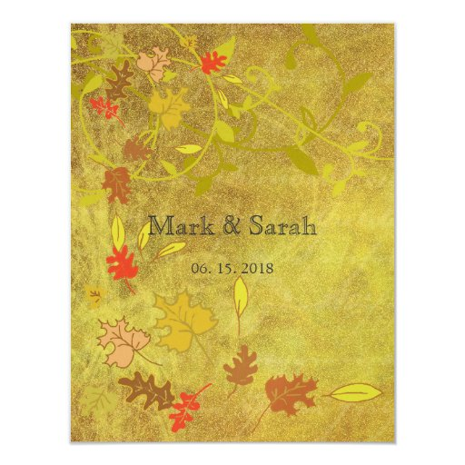 """Couture Autumn leaves Wedding RSVP 4.25"""" X 5.5"""" Invitation Card"""