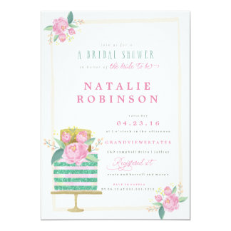 Couture Cake Bridal Shower Invitation - teal