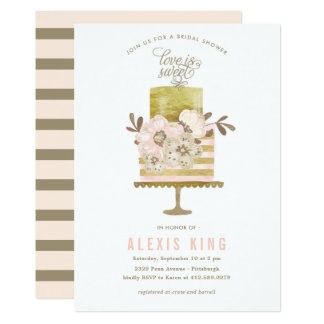 Couture Cake Gold Bridal Shower Invitation