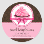 Couture Cupcake Bakery Box Seals Classic Round Sticker