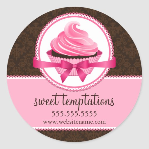 Couture Cupcake Bakery Box Seals Round Stickers