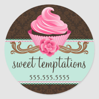 Couture Cupcake Bakery Round Stickers