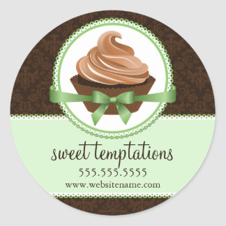 Couture Cupcake Mint Bakery Box Stickers