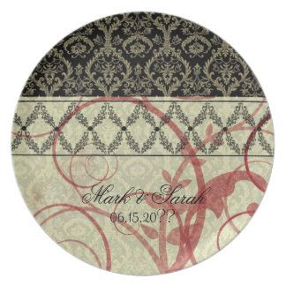 Couture Designs I Damask Wedding Anniversary Plate