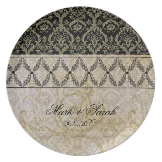 Couture Designs IB Damask Wedding Anniversary Plat Dinner Plates