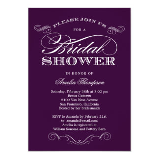 Couture Elegance Bridal Shower Invitation - Purple