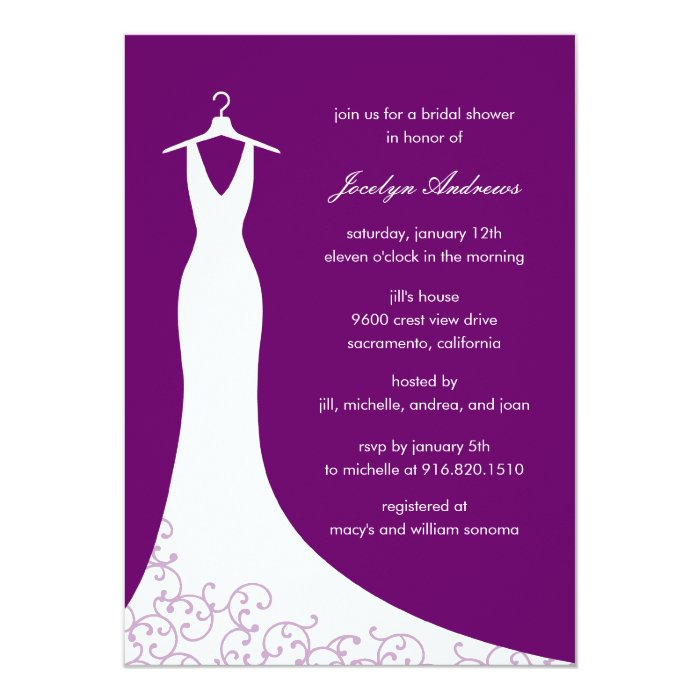Couture Gown Bridal Shower Invitation (Purple)