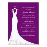 """Couture Gown Bridal Shower Invitation (Purple) 5"""" X 7"""" Invitation Card"""