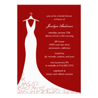 Couture Gown Bridal Shower Invitation Red Invite