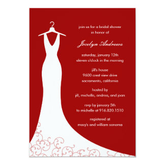 Couture Gown Bridal Shower Invitation (Red)