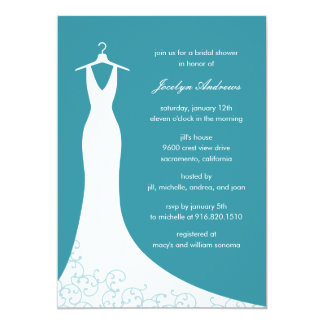 Couture Gown Bridal Shower Invitation (Turquoise)