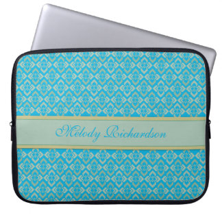 Couture inspired named blue 15 inch laptop case computer sleeves