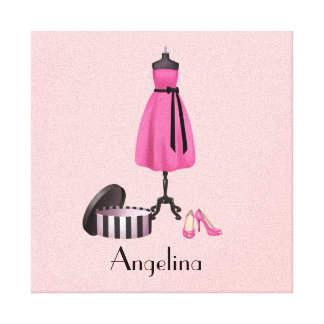 Couture Pink Dress on Form with your Name - Canvas