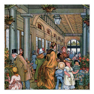 """Covent Garden, London"" Vintage Illustration Poster"