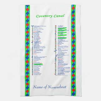 Coventry Canal UK Inland Waterways Route Green Hand Towel