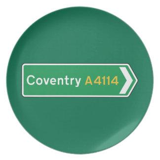 Coventry señal de tráfico BRITÁNICA Platos