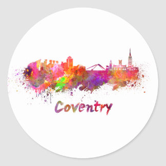 Coventry skyline in watercolor classic round sticker