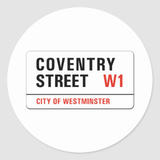 Coventry Street, London Street Sign Classic Round Sticker