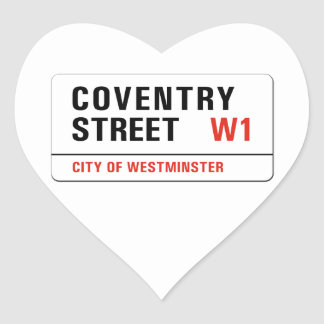 Coventry Street, London Street Sign Heart Sticker