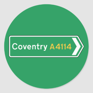 Coventry, UK Road Sign Classic Round Sticker
