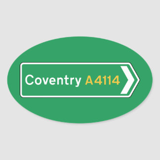 Coventry, UK Road Sign Oval Sticker