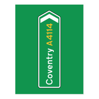 Coventry, UK Road Sign Postcard