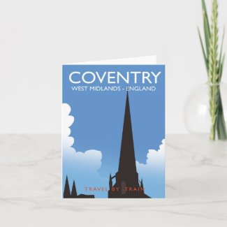 Coventry West Midlands England Train travel poster Holiday Card