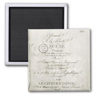 Cover for the score of 'Offrande a la Liberte' 2 Inch Square Magnet