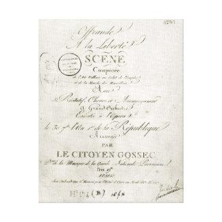 Cover for the score of 'Offrande a la Liberte' Canvas Prints