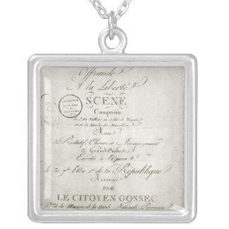 Cover for the score of 'Offrande a la Liberte' Silver Plated Necklace