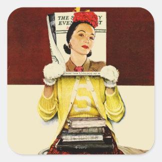 Cover Girl Square Sticker