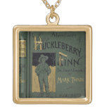 Cover of 'Adventures of Huckleberry Finn' by Mark Square Pendant Necklace
