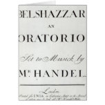 Cover of the score for Belshazzar by Handel Cards