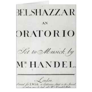 Cover of the score for Belshazzar by Handel Greeting Card