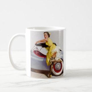 Cover up retro pinup girl coffee mug