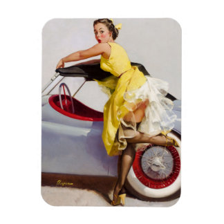 Cover up retro pinup girl magnet