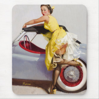 Cover up retro pinup girl mouse pad