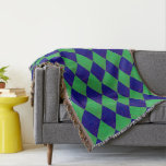 Cover with lozenge sample in blue and green throw blanket