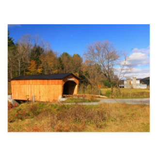 Covered Bridge and Farm South Randolph Vermont Postcard