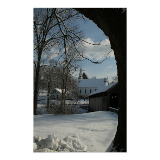 Covered Bridge and Steeple Vertical Poster